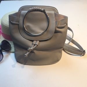 Gray Mini Back Pack Bag with Silver handle New
